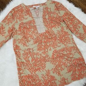 Liz Claiborne Womens Size S Tan Coral Print Tunic
